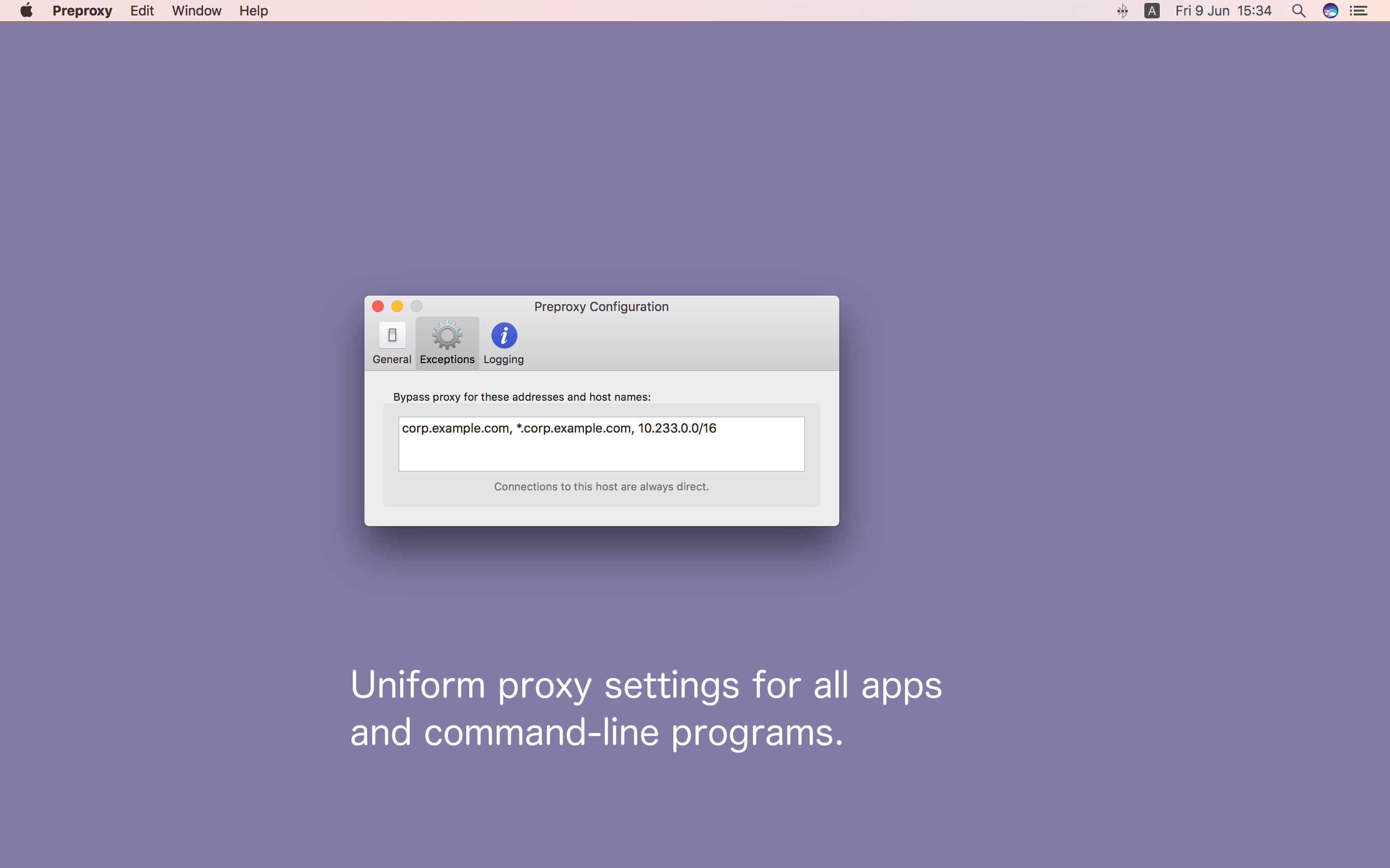 Preproxy 1.5 Exceptions Screenshot